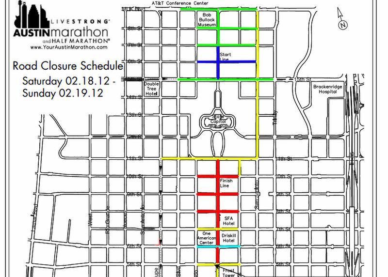 As seen in this map, numerous street closures accompany the LiveStrong Austin Marathon this weekend.