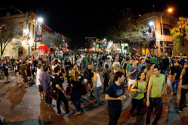 The scene on Sixth Street, at SXSW 2011.