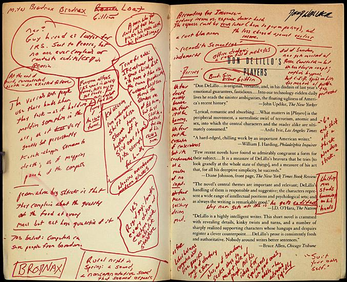 "Notes filling a copy of ""Players"" by Don DeLillo, one of Wallace's favorite authors."