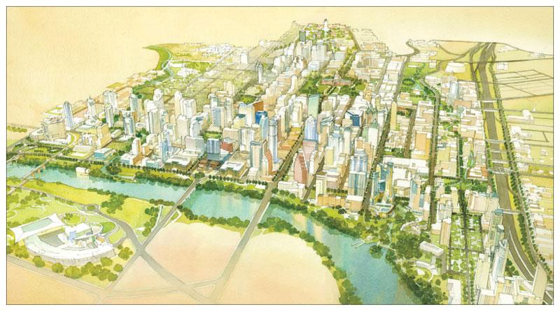 A rendering of downtown Austin's possible future, taken from the Downtown Austin Plan.
