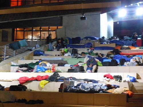 This photo, taken the night of the Occupy Austin removal, shows the makeshift encampment that sprang up at City Hall.