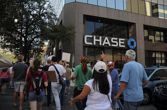 Occupy Austin marches on Chase Bank in a demonstration from last year.