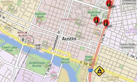 A screenshot from Trapster, a mobile application that maps speed traps.