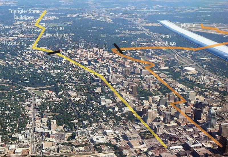 This image compares the alignment of Capital Metro's rapid bus service (left), and the proposed urban rail route (right).