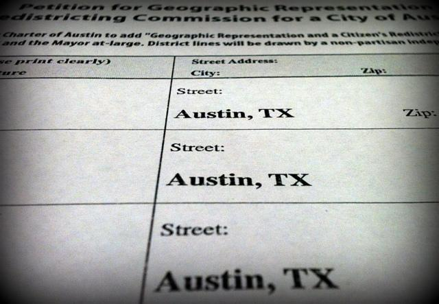 A detail of the petition Austinites for Geographic Representation is circulating to put the 10-1 plan on the ballot.