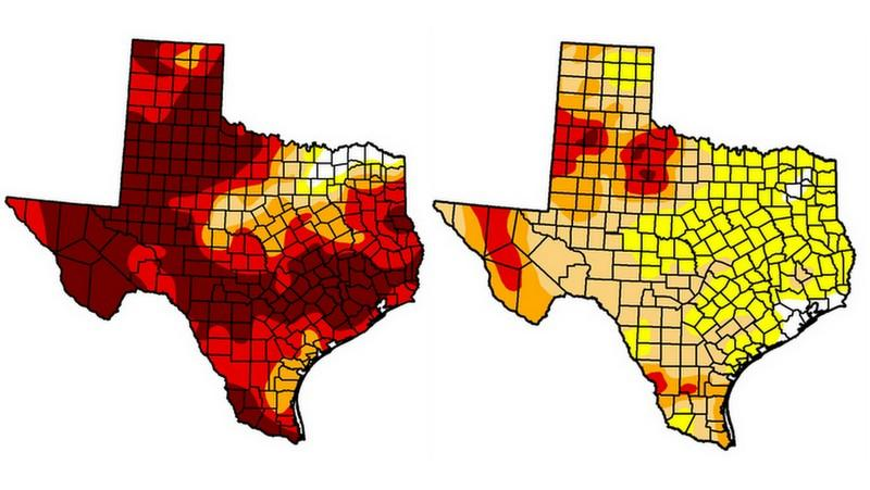 The drought map from this time last year (left) and the map released today (right) shows Texas with much less drought.