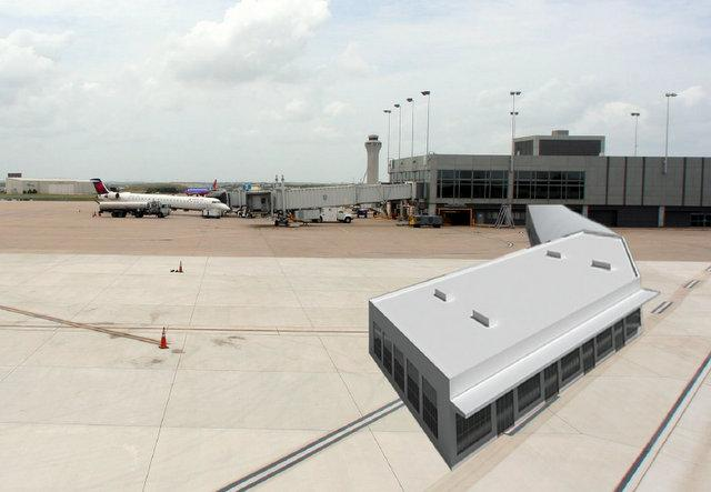 A rendering of the new customs terminal proposed at ABIA.