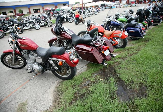 Motorcycles lined up for the 2010 ROT Rally.
