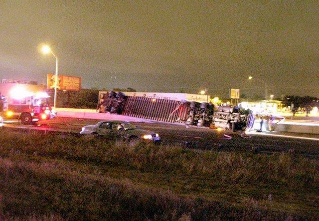 A cameraphone picture taken early this morning showing the overturned truck,
