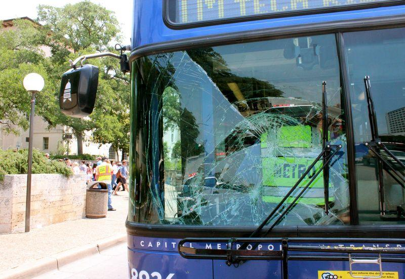 The aftermath of Engmann's encounter with a Capital Metro bus.