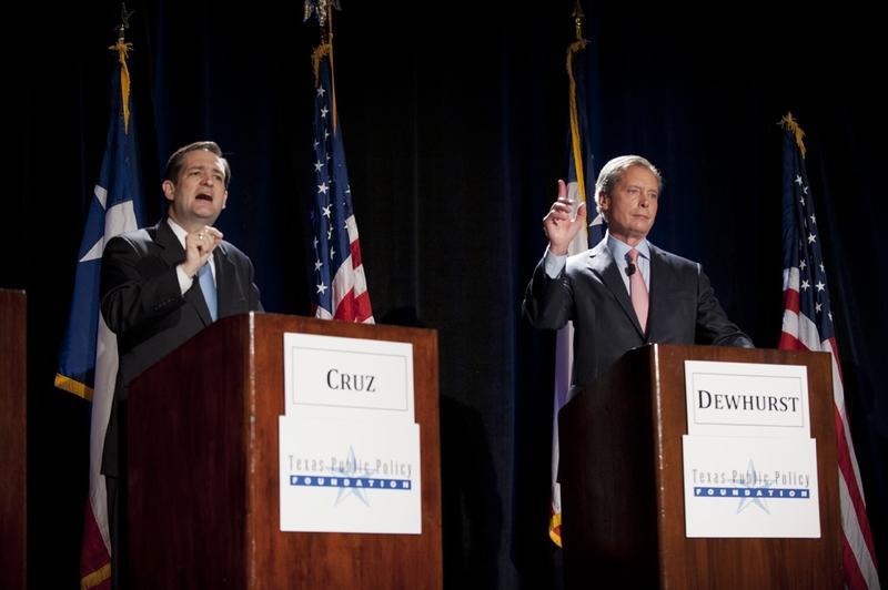 U.S. Senate candidates Cruz (left) and Dewhurst (right).
