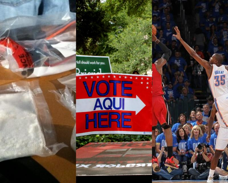 Officials have tied drugs seized in Austin to Mexican cartels; untapped Latino voters could swing Texas' next election; and the OKC Thunder beat Miami in the NBA Finals' Game 1.