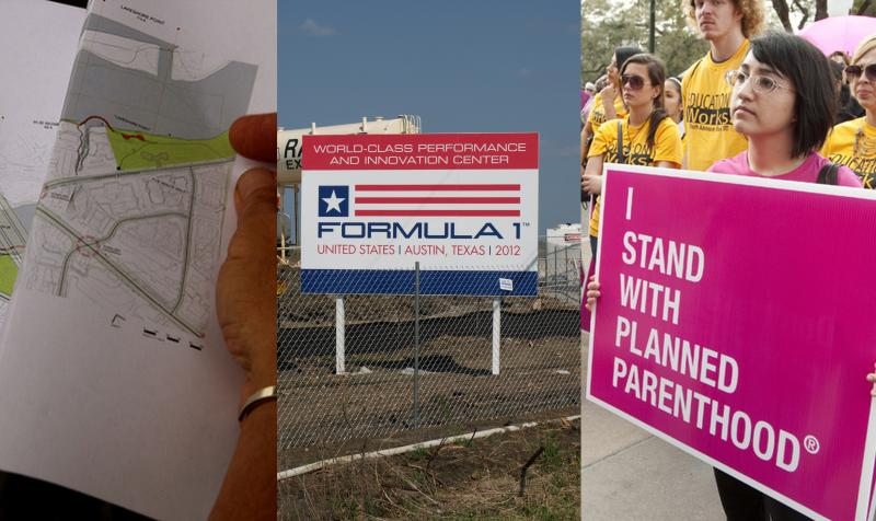 Experts reveal initial plans for Austin's south shore; Tickets for Austin's F1 Grand Prix on sale Sunday; Texans have opposing views of Planned Parenthood.
