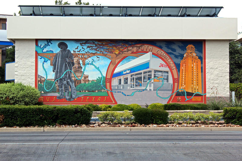 Located at West Riverside Drive and South Congress Avenue, this mural depicts landmarks from around the city.