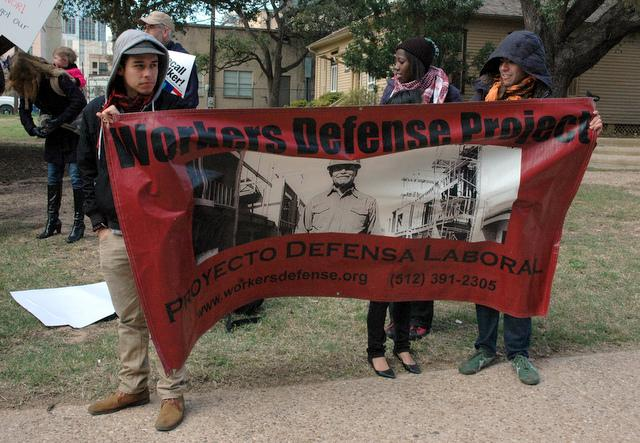 A demonstration featuring the Workers Defense Project, earlier this year in Austin.