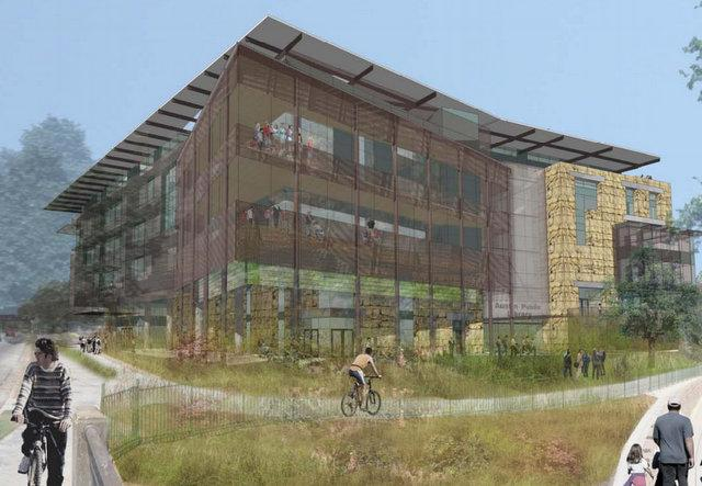 A rendering of the new central library, along Cesar Chavez Street.