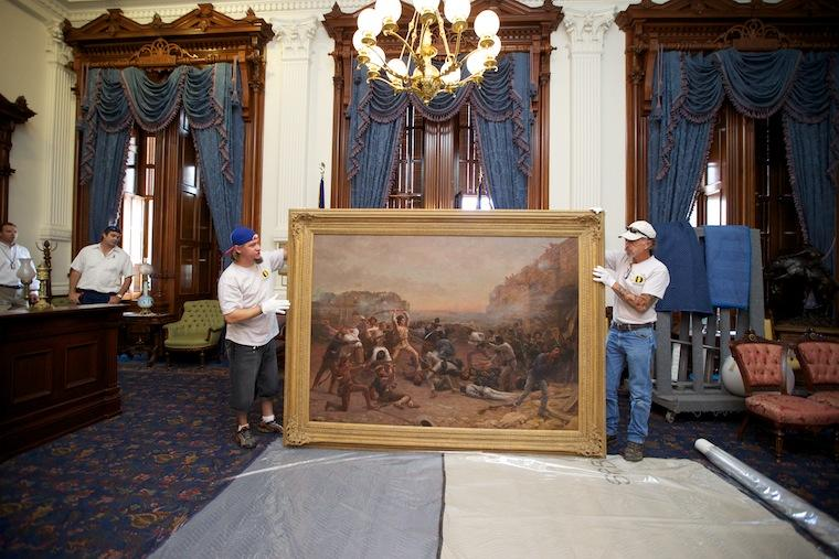 The iconic painting 'Fall of the Alamo' returns to the Governor's Mansion.