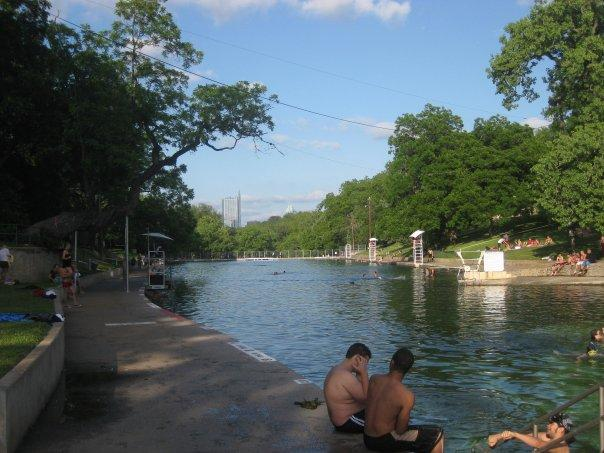 Hot summer days draw Austinites to  Barton Springs - but rainy weather has temporarily closed the pool.