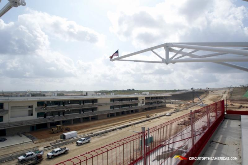 The view from the grandstand at the under-construction Circuit of the Americas track.