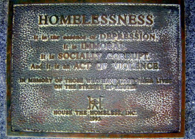House the Homeless' memorial marker in memory of fallen homeless.