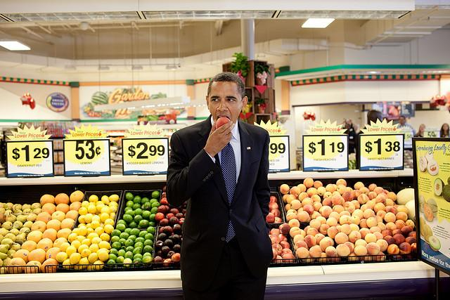 President Obama has a snack in this 2009 photo.