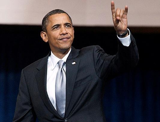 President Obama hooks 'em during his 2011 Austin visit.
