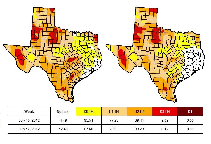 The drought conditions have improved across Central and Eastern Texas from the July 10 map (left) to the July 17 map (right).