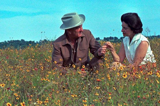 Lady Bird Johnson and her husband, former President Lyndon Baines Johnson, contributed to the beautification of the nation's highways.