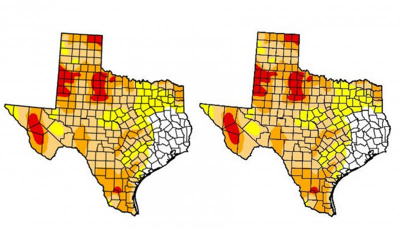 This week's drought conditions (R) remain steady compared to the previous week.