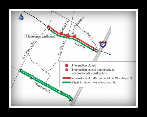 Westbound commuters on Oltorf will need to find a different route to I-35.