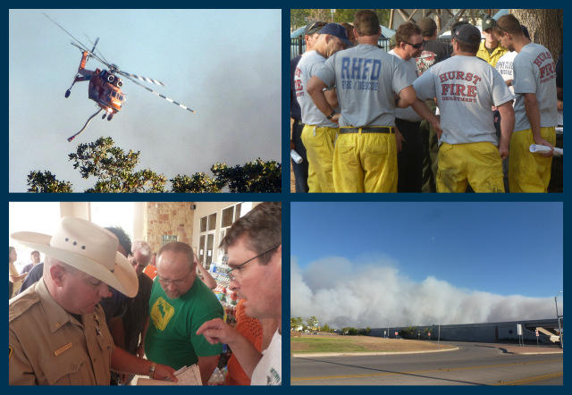 Scenes from the wildfire response in Bastrop.