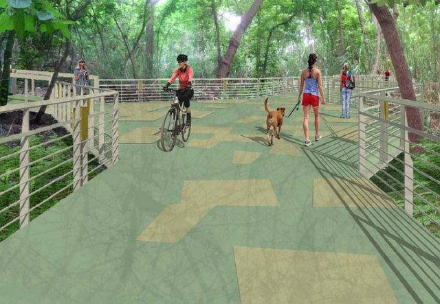The boardwalk project will close a 1.1-mile long gap in the trail around Lady Bird Lake.
