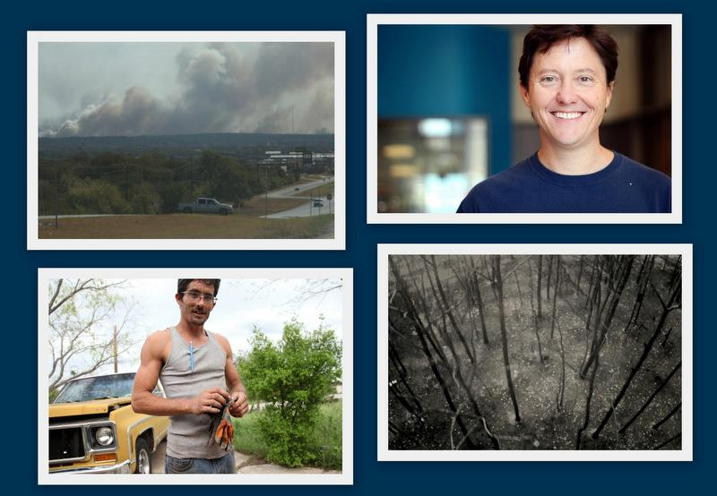 Clockwise, from top left: The wildfire that burned Bastrop; volunteer firefighter Rick Chafey; charred trees in the Lost Pines forest; and Spicewood resident Melvin Pulver.