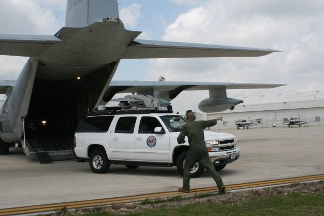An emergency response vehicle unloads in San Antonio during a training exercise. Several San Antonio-based soldiers are currently responding to Hurricane Isaac.