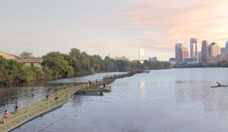 The 1.1-mile long boardwalk will complete the trail around Lady Bird Lake.