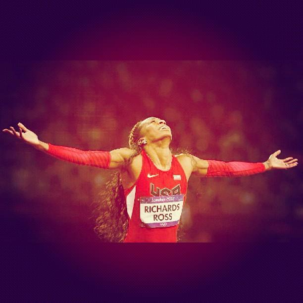 Richards-Ross celebrates her 400m win.