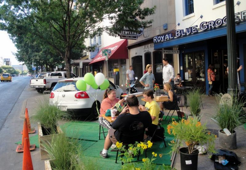 "Two parking spots along Congress Avenue have been temporarily flipped into a ""parklet."""