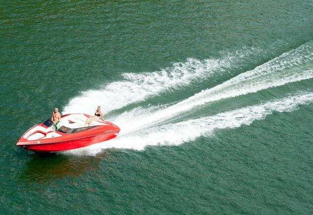 Labor Day weekend revelers enjoy a ride on the lake - but personal watercraft/jetskis are still banned on Lake Austin.