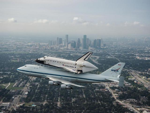 The Space Shuttle Endeavor flew over Houston before heading towards Austin.