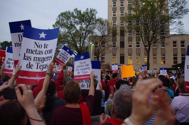 Protestors Rally in Austin during March rally.