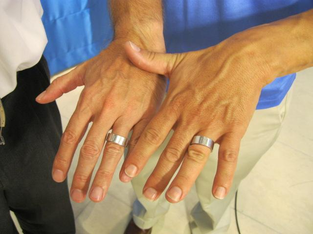 A same sex couple married in California showed off their wedding rings ahead of this morning's council vote.