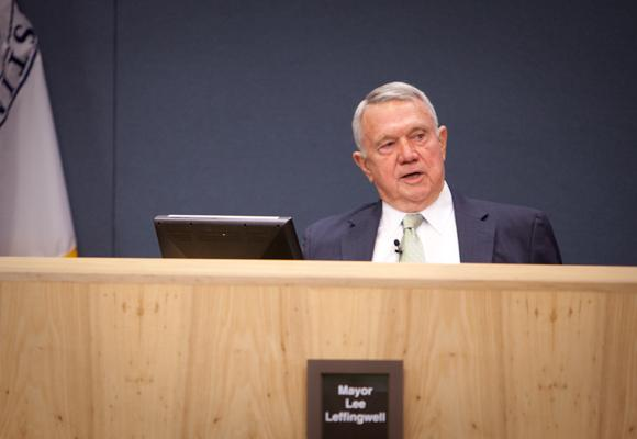 Mayor Lee Leffingwell voiced his displeasure with the city budget's property tax rate today.