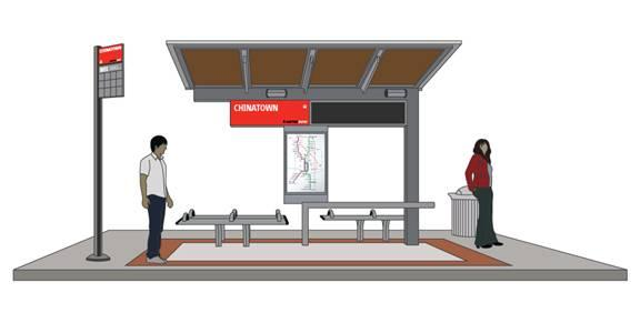 A rendering of a MetroRapid bus stop, which will feature real-time info on bus arrivals.