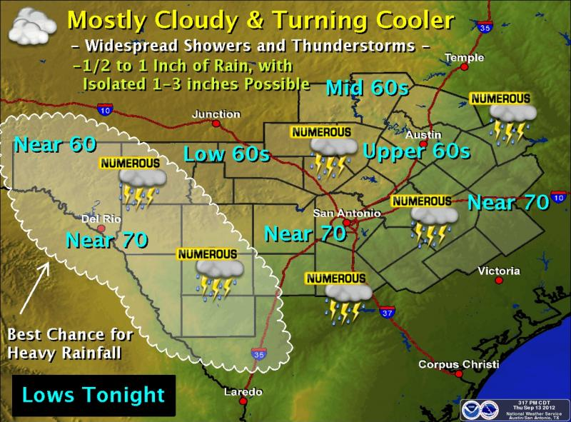 Tonight's forecast is mostly cloudy with a good chance of showers and thunderstorms.