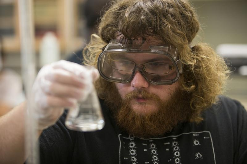 Texas Science Scholar Wesley Powers, a junior chemistry major from Midland, Texas, works on a 3-hour-long lab experiment at the University of Texas of the Permian Basin in Odessa, Texas.