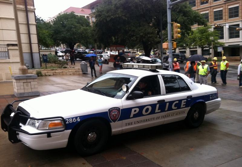 A UTPD cruiser on campus earlier today.