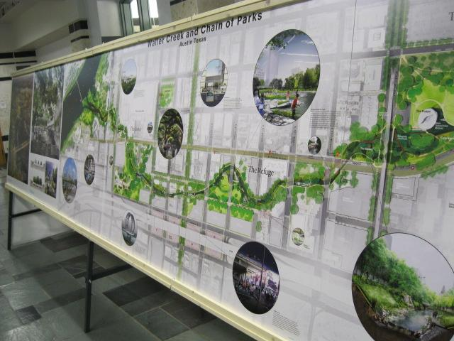 The four finalists in the Waller Creek design competition are on display around the city for the next few weeks.