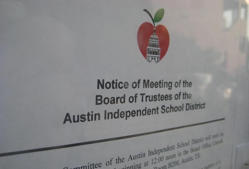 A posted notice for an Austin school board meeting, as required by the Texas Open Meetings Act.