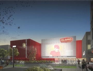 A rendering of the new Alamo South Lamar and The Highball.