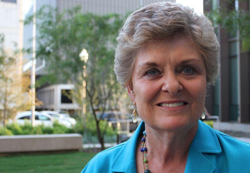 Jody Conradt outside the KUT studios, just before accepting the Title IX Legacy Award.